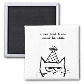 Angry Cat Hates Birthdays 2 Inch Square Magnet