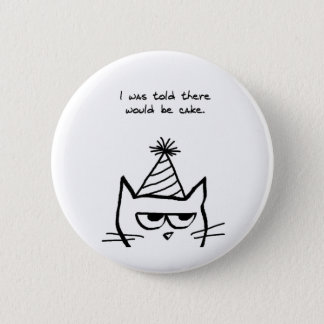 Angry Cat Hates Birthdays Pinback Button