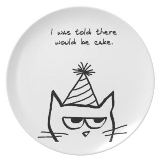 Angry Cat Hates Birthdays Plates