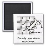 Angry Cat Helps with the Crossword 2 Inch Square Magnet