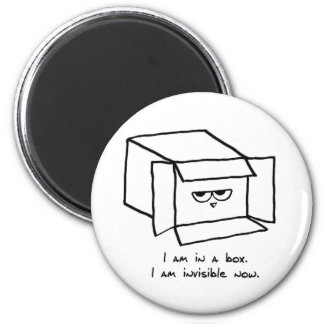 Angry Cat Hides in a Box 2 Inch Round Magnet