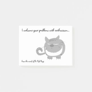 "Angry Cat ""I Welcome Your Problems"" Funny Custom Post-it Notes"
