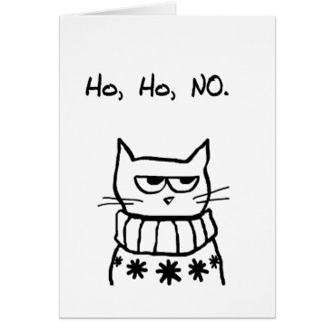 Christmas Themed Angry Cat in a Christmas Sweater - Funny Cat Xmas Card