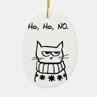 Angry Cat in a Christmas Sweater - Funny Cat Xmas Ceramic Ornament