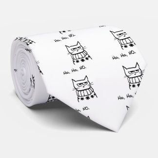 Angry Cat in a Christmas Sweater - Funny Cat Xmas Neck Tie