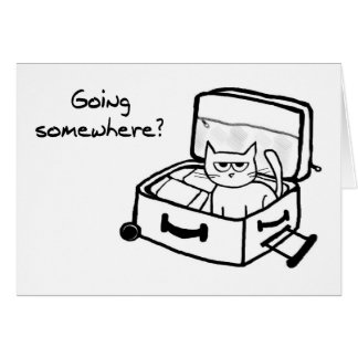 Angry Cat in Suitcase - Funny Gift for Travelers Card