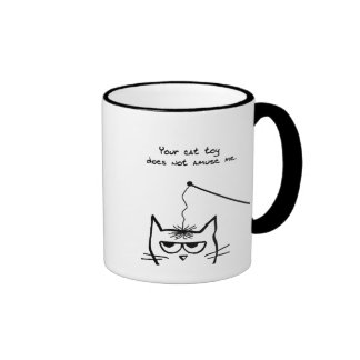 Angry Cat is not amused Ringer Coffee Mug