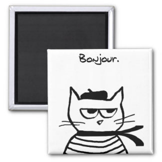 Angry Cat is So Very French 2 Inch Square Magnet