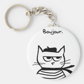 Angry Cat is So Very French Keychain