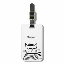Angry Cat is so very French Luggage Tag