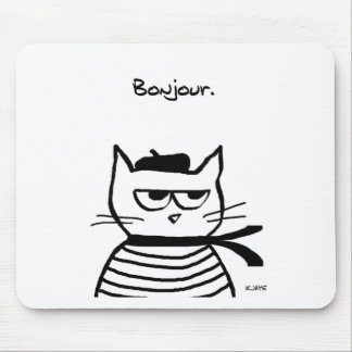 Angry Cat is So Very French Mouse Pad