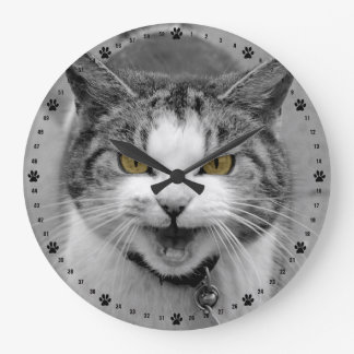 Angry Cat Large Clock