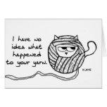 Angry Cat Likes Yarn Card