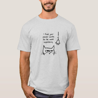Angry Cat Loves to Chew Power Cords T-Shirt