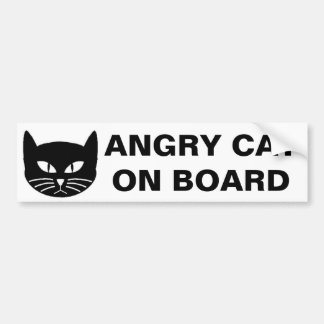 ANGRY CAT ON BOARD BUMPER STICKER