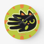 Hand shaped Angry Cat Round Wallclock