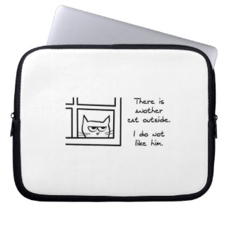 Angry Cat Sees Another Cat Laptop Sleeve