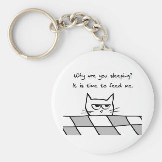 Angry Cat Wants You Out of Bed Basic Round Button Keychain
