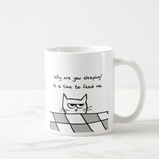 Angry Cat Wants You Out of Bed Classic White Coffee Mug