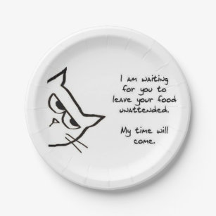 Angry Cat Will Steal Your Food - Funny Paper Plate  sc 1 st  Zazzle & Funny Angry Cat Plates | Zazzle