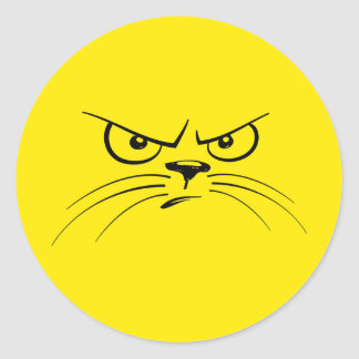 Angry Cat Yellow Smiley Face Classic Round Sticker