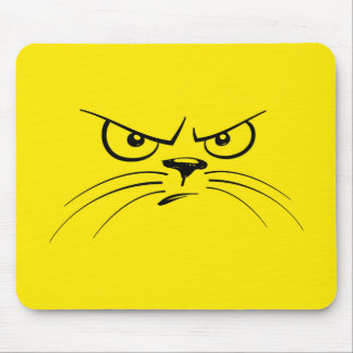 Angry Cat Yellow Smiley Face Mouse Pad