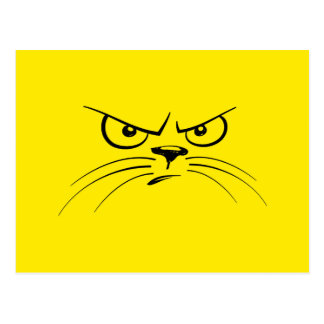 Angry Cat Yellow Smiley Face Postcard