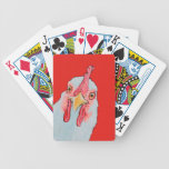 angry chicken in red bicycle playing cards