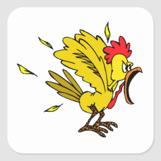 Angry Chicken Square Sticker