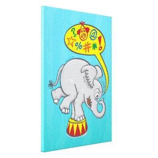 Angry circus elephant saying bad words canvas print
