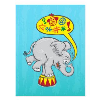 Angry circus elephant saying bad words postcard
