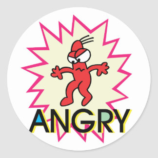 Angry Classic Round Sticker