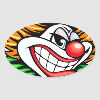 Angry Clown Deisgn Oval Sticker