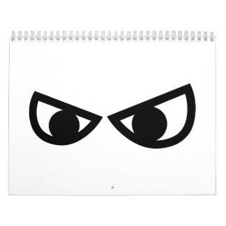 Angry comic eyes calendar