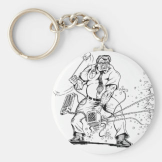Angry Computer Guy Basic Round Button Keychain
