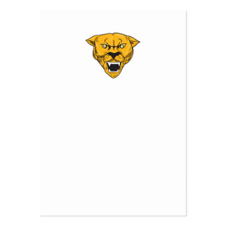 Angry Cougar Mountain Lion Head Drawing Large Business Card