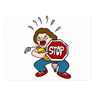 Angry Crossing Guard Cartoon Character Postcard