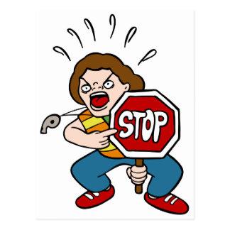 Angry Crossing Guard Cartoon Character Postcard