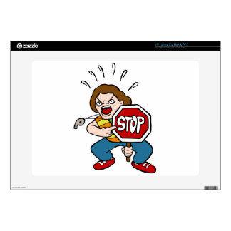 """Angry Crossing Guard Cartoon Character 15"""" Laptop Decal"""