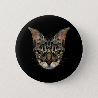 Angry Cyborg Cat Pinback Button
