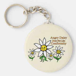 Angry Daisy Does Not Like Conformity Keychain