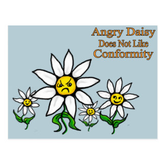 Angry Daisy Does Not Like Conformity Postcard