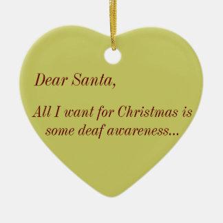 Angry Deaf: Deaf Awareness Wishlist for Santa Christmas Tree Ornament