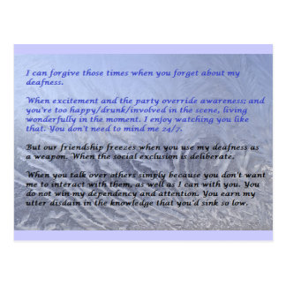 Angry Deaf: Deliberate Social Exclusion Memo Postcards