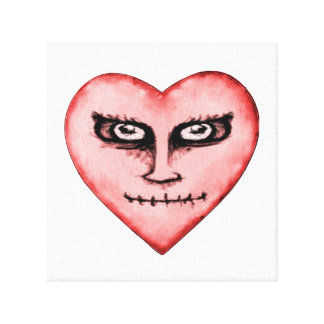 Angry Devil Heart Drawing Canvas Print
