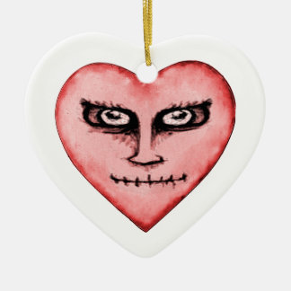 Angry Devil Heart Drawing Ceramic Ornament