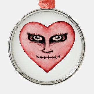 Angry Devil Heart Drawing Metal Ornament