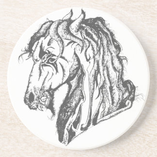 Angry Devil Horse in Black Coaster