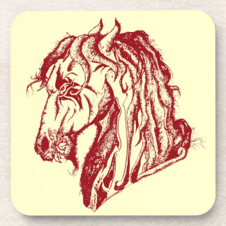 Angry Devil Horse in Red and Pick Your Background Coaster
