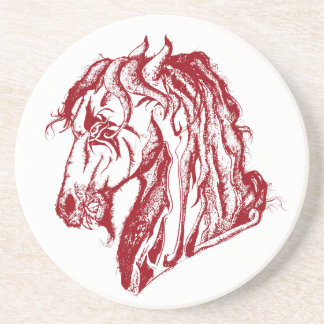 Angry Devil Horse in Red and Pick Your Background Sandstone Coaster